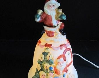 Santa Light, Santa Bell Light, Christmas Bell Light, Christmas Bells, Santa Claus, Christmas, Christmas Decor, Lighting, Christmas Lights