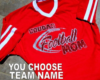 Football Mom Shirt - Short Sleeve V-Neck Jersey Style with High Sparkle Glitter - Red or Blue Shirt & Personalize with Your School Name