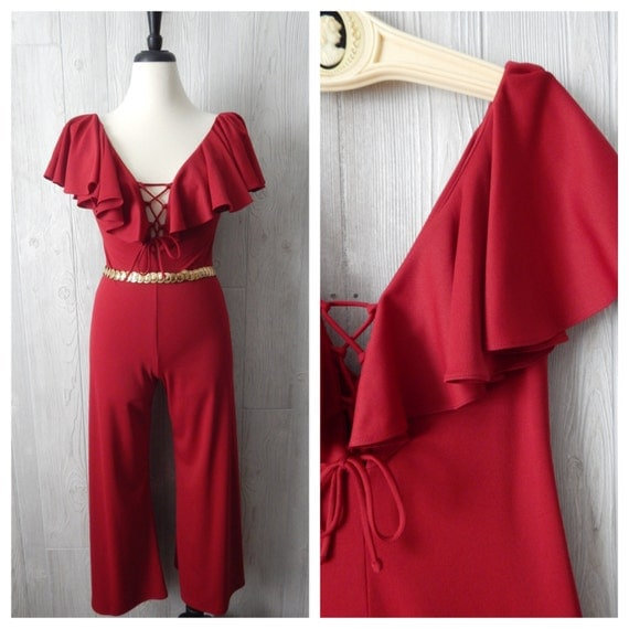 RF GABI dancing queen | Women's Vintage 70s Burgundy Red Corset Flutter Sleeve Plunge Neck Jumpsuit // Size Small Medium