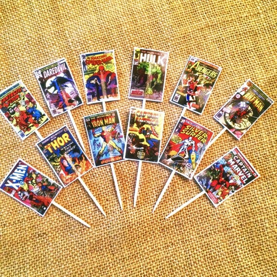 Comic Book Cupcake Toppers