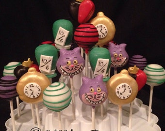 24 Alice in Wonderland Cake pops Assortment, Cheshire Cat, Mad Hatter, Tea Party