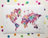"""NEW LARGE / Map of the World / Signed print / 13"""" x 19"""""""
