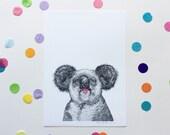 TONGUE OUT KOALA / Signed print by Niki Pilkington