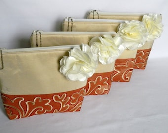 Set of 4 Bridesmaids Zipper Clutch, Embroidered Silk Bridesmaids Clutch, Bridesmaids Gifts, Ivory and Coral set of 4 Clutch Purses