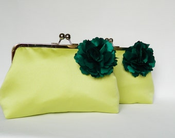 Set of 2 Bridesmaids Clutch, Bridesmaids Gifts, Bridesmaids Clutch, Bridesmaids Set, Wedding Clutch, Green Floral Clutch, Clutch Bags