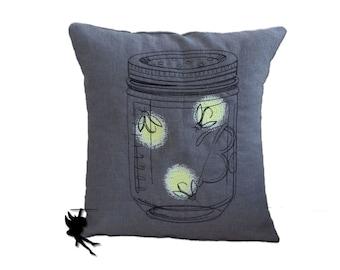 Fireflies Linen Cushion Linen Pillow Firefly Pillow Throw pillow glow-in-the-dark pillow