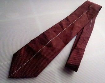 Men's DKNY Neckties Maroon 100%Silk L59'W3.54' Stripe Central Made In Japan