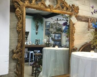 Antique Hand Carved Gold Leaf Mirror