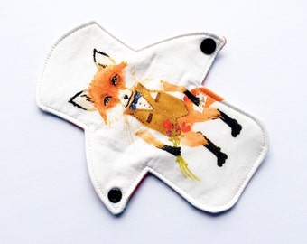 "Lucy and Mabs 7"" MODERATE Reusable Menstrual pad / Fantastic Mr. Fox"