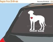 40% OFF SALE: GREAT Dane dog vinyl decal - with optional Red Heart. High quality vinyl car stickers for car windows and other devices. Uniqu