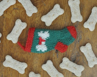 Dog Bone Christmas Stocking Ornament  Pet Gift  Dog Ornament  Hand-Knit Stocking Ornament