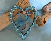 Mermaid dolphin heart ornament with blue shell chips_beach decor