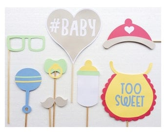 Baby Shower Photo Booth Prop Set; Pastel Baby Shower Decor ; Boy Baby Shower ; Baby Photobooth Props