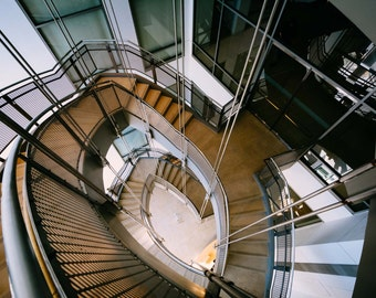 Staircase in the Walter's Art Museum, in Mount Vernon, Baltimore, Maryland. | Photo Print, Stretched Canvas, or Metal Print.