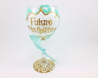 Future Mrs. Bride Swirl Gold Wine Glass Monogram Personalized Custom Name Glass Wedding Shower Bachelorette Bridesmaid Wine Glass