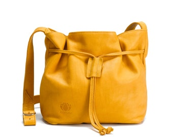 Yellow leather bag - soft leather purse , leather shoulder bag , crossbody bag , women messenger bag , oversize leather purse