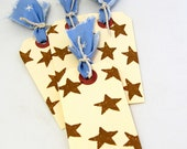 Set of Four Tags - Rustic Stars Tags - Brown Stars - Set of Four Gift Tags - Rustic Gift Tags - Brown and Blue Tags - Blue Fabric Accent