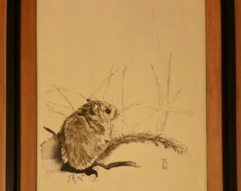 Vintage acrylic painting of mouse.