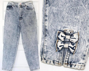 80s high waist acid wash bow jeans - medium or large