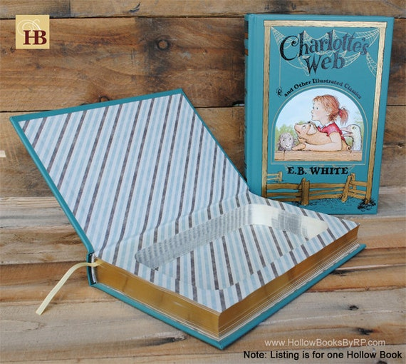 Book Safe - Charlotte's Web - Leather Bound Hollow Book Safe
