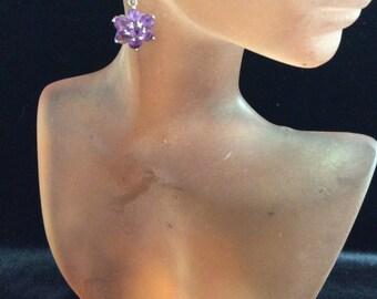Vintage Sterling Silver Amethyst Floral Leverback Dangle Earrings