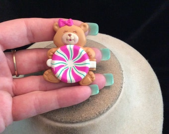 Vintage Signed WR Teddy Bear Holding Candy Pin