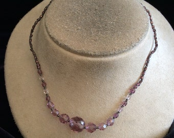 Vintage Purple & Clear Glass Beaded Necklace