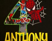 Spiderman Birthday Shirt...Includes embroidery of child's name...Sizes 12 months to 12 youth.