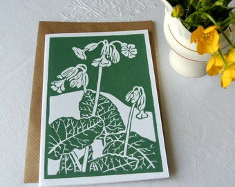 Handprinted wildflower greetings card