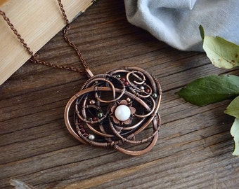 Wire wrapped copper pendant - Boho style jewelry - Gift for women