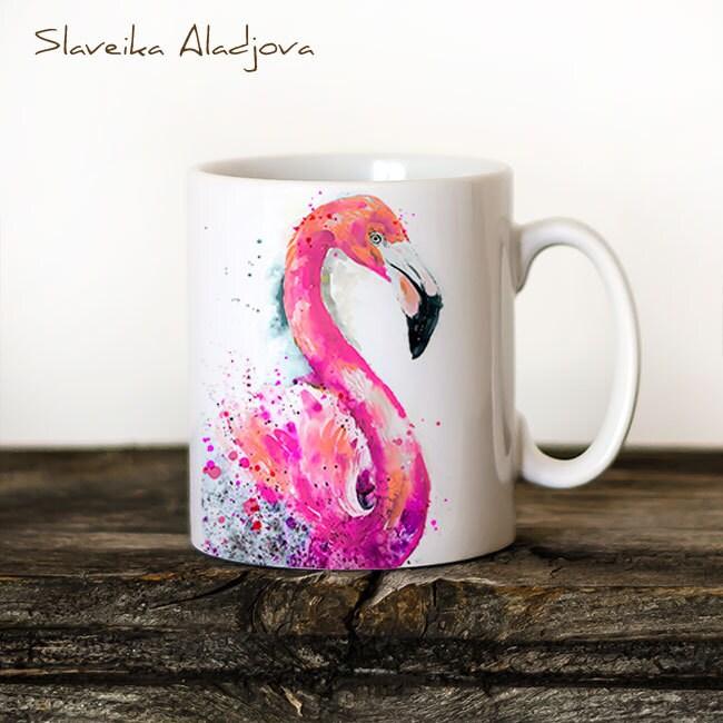Flamingo Mug Watercolor Ceramic Mug Unique Gift Coffee Mug