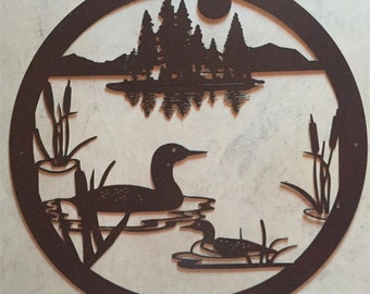 """32"""" Metal sign  with lake scene in black"""