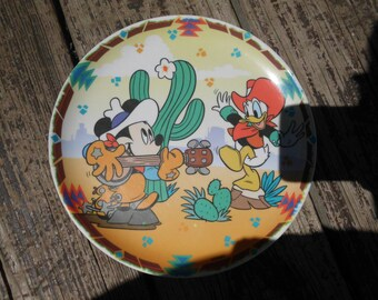 "Vintage Mickey Mouse and Donald Duck plate/Disney/kids plate/cartoon characters/Mickey Mouse/Donald Duck/Western/Cowboys/8"" plate"