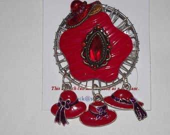 Red Hat Society Theme.  One-of-a-Kind collage brooch &/or pendant, made from recycled vintage jewelry. 4 hats, Silver, roses, dangles .#78