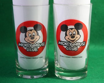 Vintage Walt Disney Productions Mickey Mouse Club - Two Eight Ounce Glasses