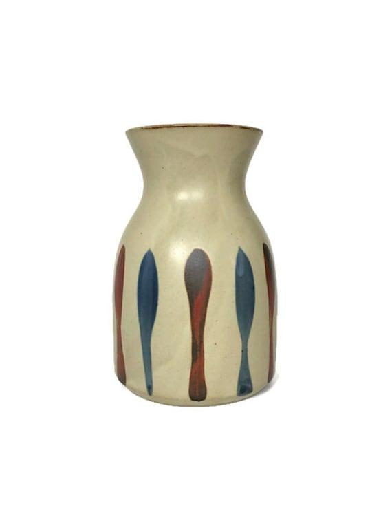 Mid Century inspired vase vintage ceramic wide bottom planter mod stripe