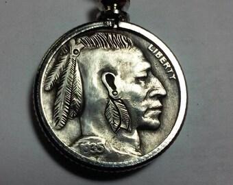 Native American Mohawk Hobo Nickel by Sue