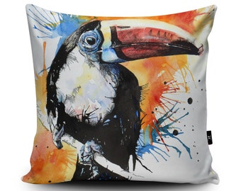 Red Billed Toucan Cushion, Toucan Pillow, Parrot Cushion, Parrot Pillow, Toucan Cushion, Bird Cushion, 18inch/23.6inch Cushion