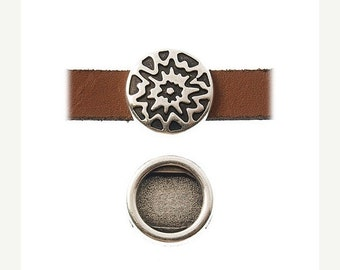 On Sale NOW 25%OFF Zamak Sun Sliders For 5-10mm Flat Leather Antique Silver Z2920 Qty 2
