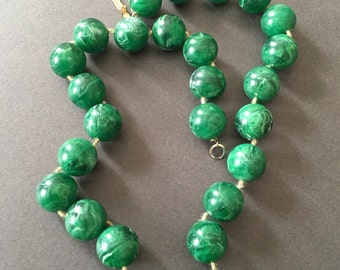 Vintage Plastic Bead Necklace Marbled Green White