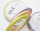 Slim Washi Tape -  3 Rolls of Pastel Washi Tape - mt Masking Tape from Japan