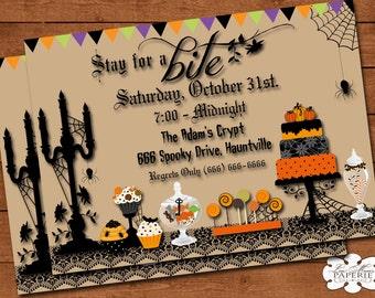 halloween invitation, handmade digital invite, halloween party dessert invitation, halloween party invite - Digital File - DIY PRINTABLE