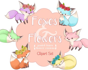 Cute Foxes and Flower Crowns Clipart