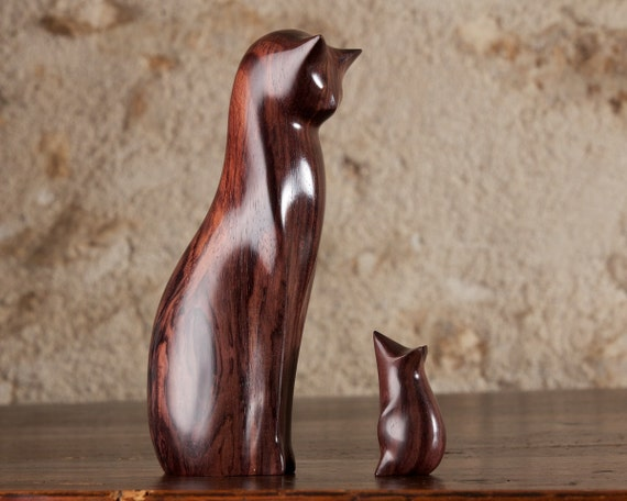 Wooden Cat Statue, Wooden Cat Figurine, Cat and Mouse Carved From Sonokeling Rosewood by Perry Lancaster, Original Design