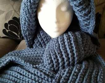 Hooded scarf, scarf with hood, oversized hood, winter scarf, chunky scarf, scarf, winter hooded scarf