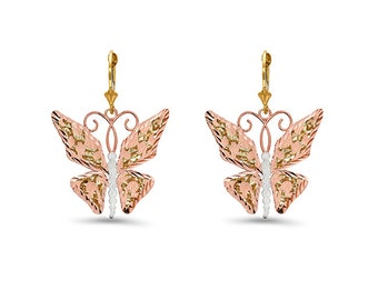 14k solid yellow and rose gold butterfly earrings on fleur de lis lever backs.