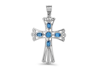 Sterling Silver Blue Topaz Cross Pendant, Cross Pendant, Blue Topaz Pendant, Cross Jewelry, Religious Jewelry, Blue Topaz Jewelry, Cross