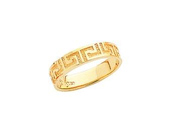 14k Yellow Gold Greek Key Design Ring.