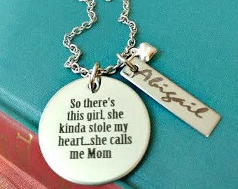Mother Daughter Engraved Personalized Mom Necklace - So There's This Girl, One Girl