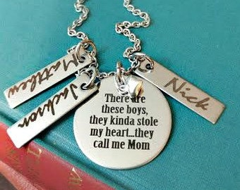 Mother Son Engraved Personalized Mom Necklace - There are These Boys, 3 Sons